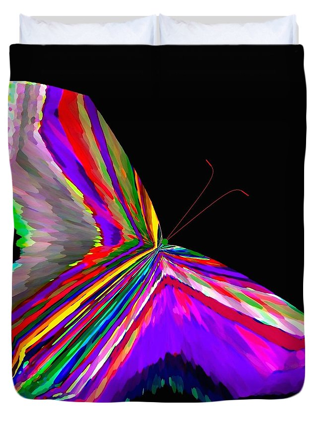 Abstract Duvet Cover featuring the digital art Tropical Butterfly by Will Borden