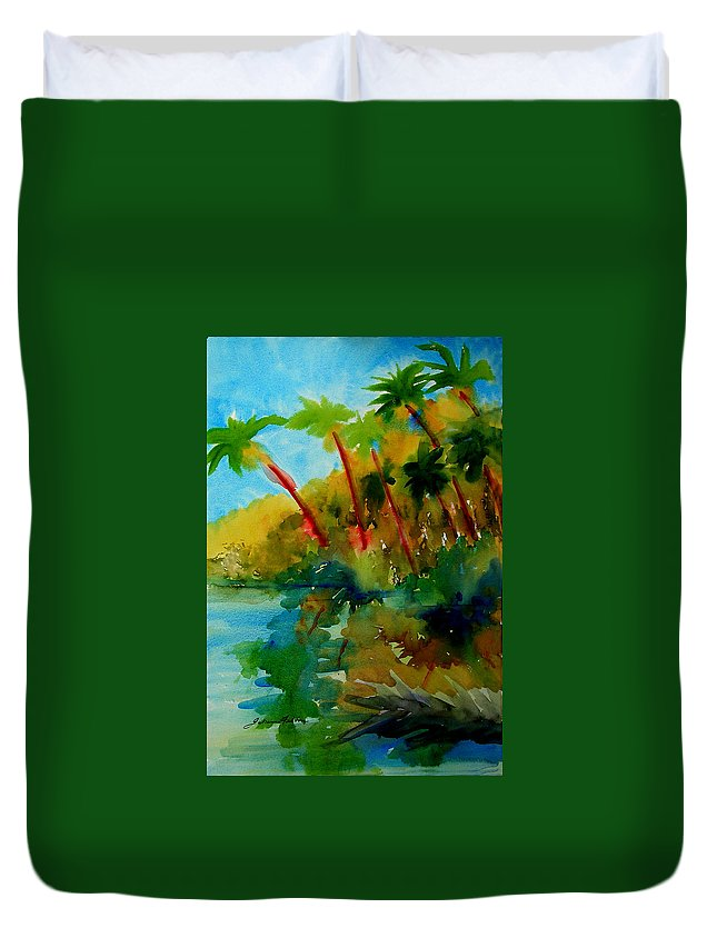 Art Duvet Cover featuring the painting Tropical Canal by Julianne Felton