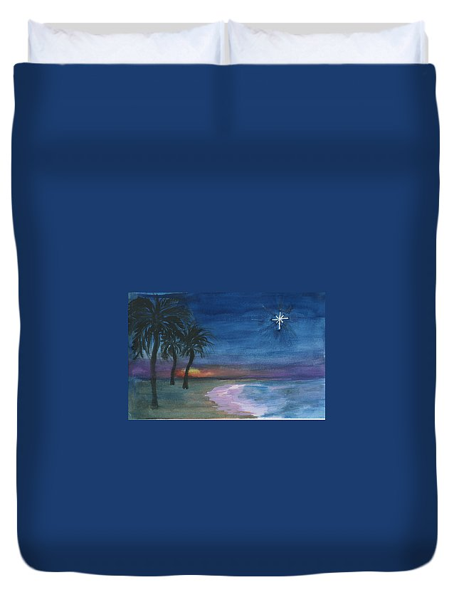 Palm Trees Duvet Cover featuring the painting Tropical Christmas by Donna Walsh