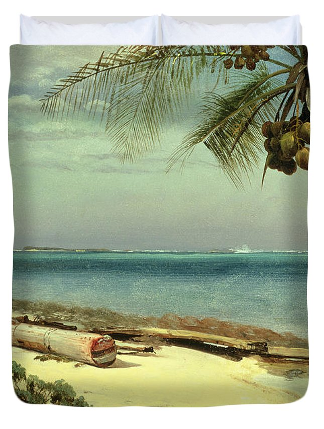 Shore; Exotic; Palm Tree; Coconut; Sand; Beach; Sailing Duvet Cover featuring the painting Tropical Coast by Albert Bierstadt