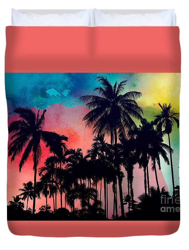 Duvet Cover featuring the painting Tropical Colors by Mark Ashkenazi