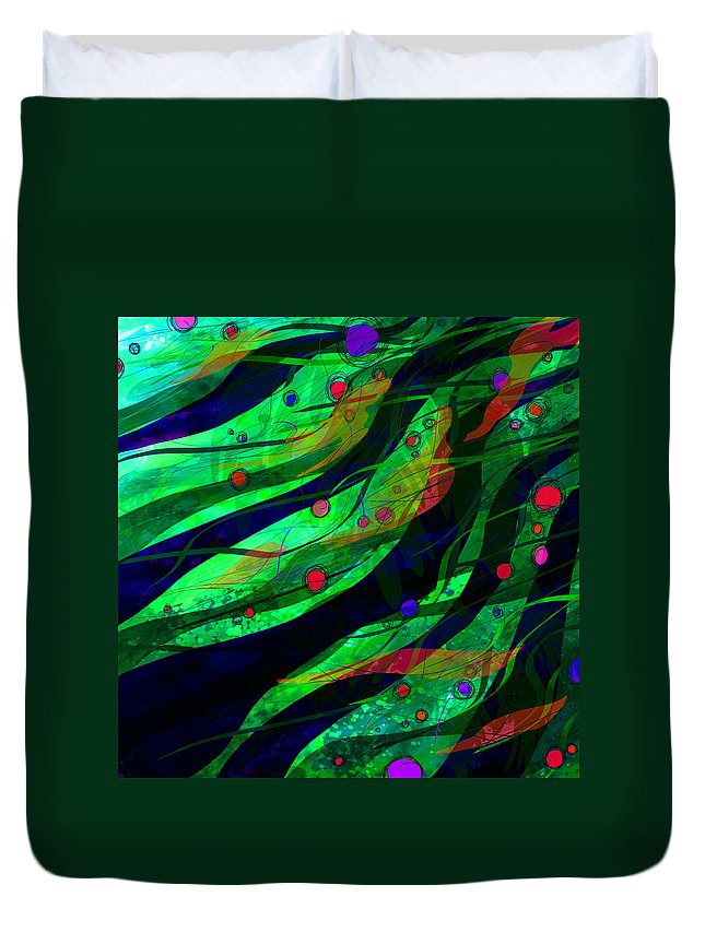 Abstract Duvet Cover featuring the digital art Tropical Dreams by Rachel Christine Nowicki