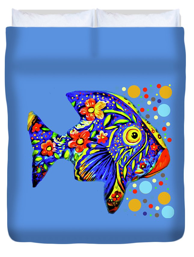 Abstract Duvet Cover featuring the digital art Tropical Fish by Eleni Mac Synodinos