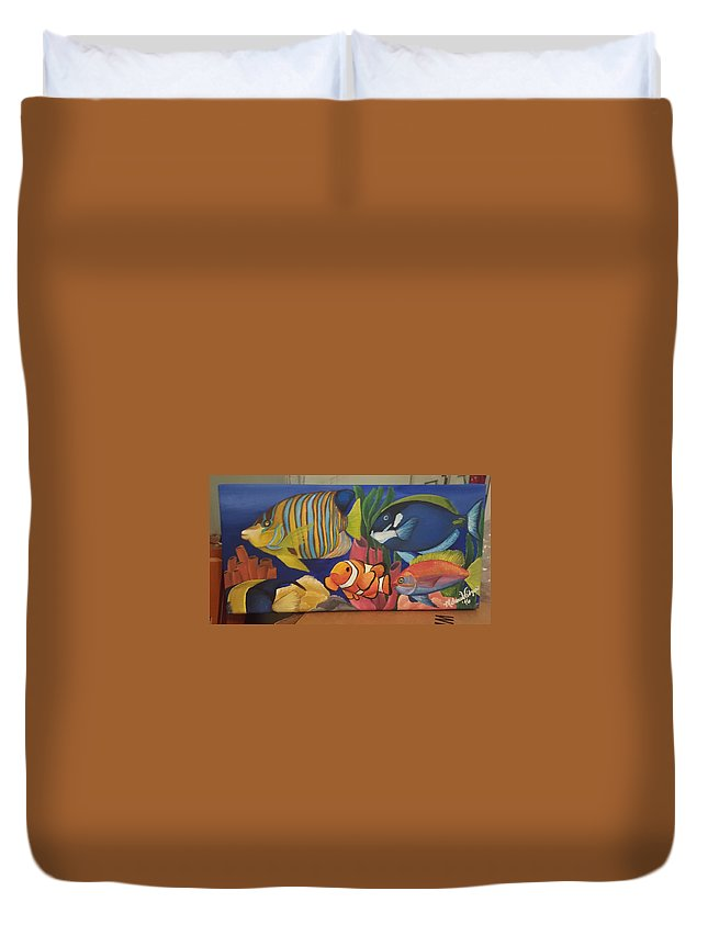Tropical Fish Duvet Cover featuring the painting Tropical Fish by Melanie Widgeon