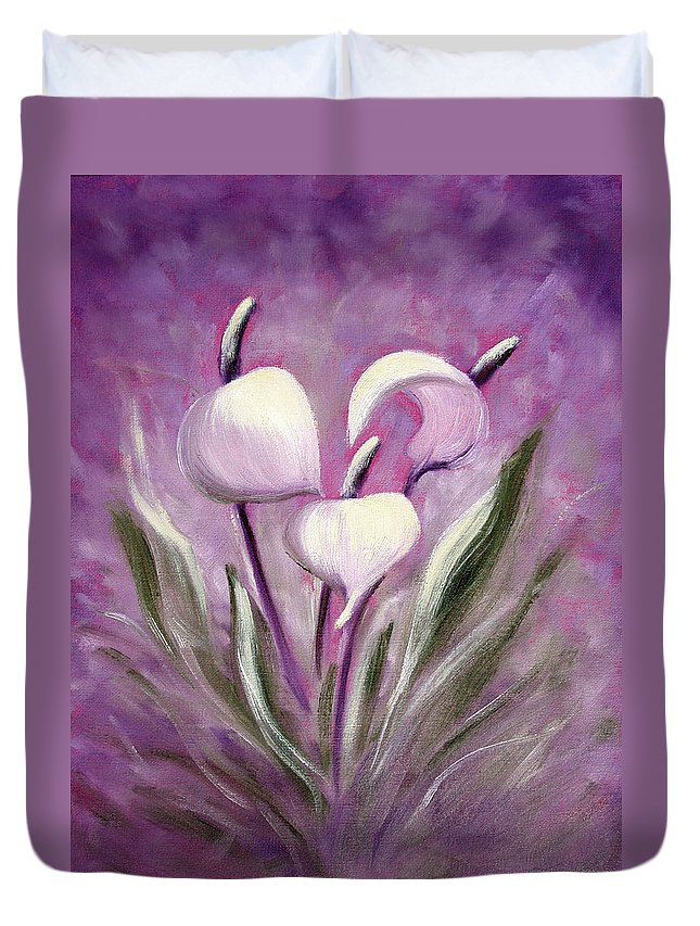 Tropical Duvet Cover featuring the painting Tropical Flowers In Purple by Gina De Gorna