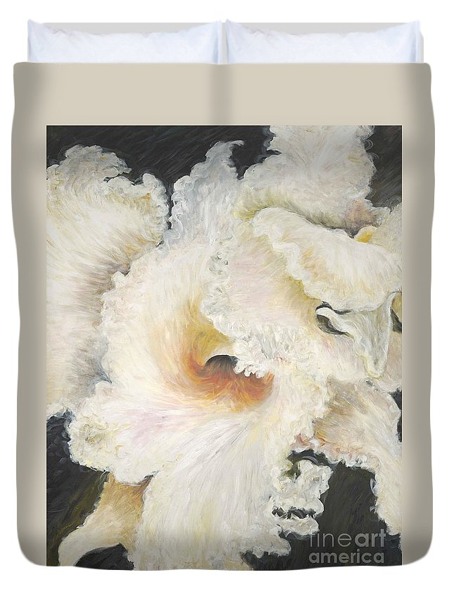 Flower Duvet Cover featuring the painting Tropical Flowers by Nadine Rippelmeyer