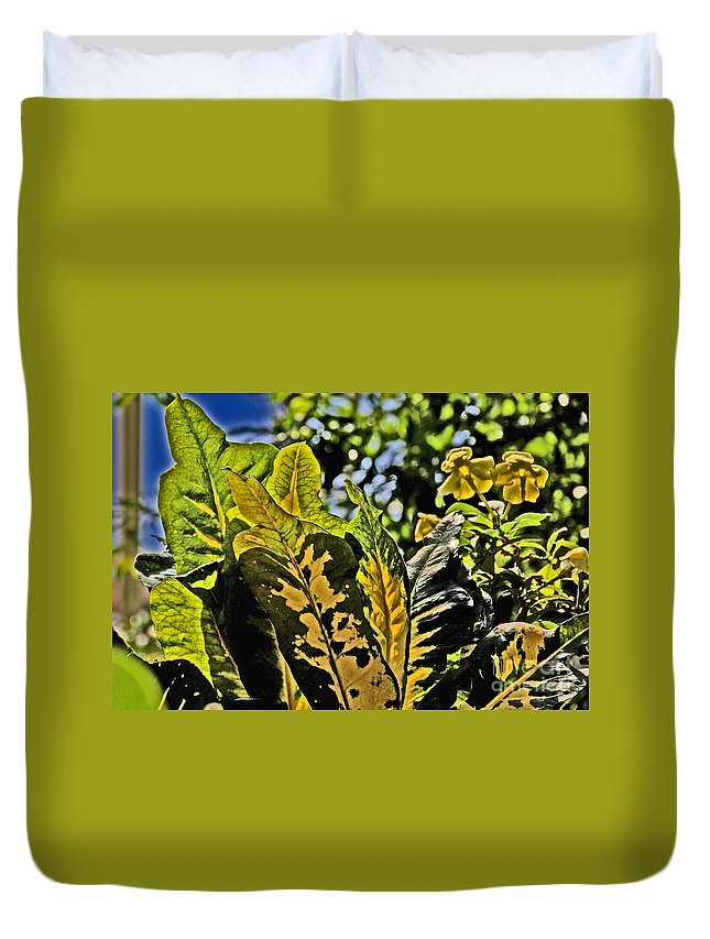 Tropical Foliage Duvet Cover featuring the photograph Tropical Foliage A-la Monet by David Frederick