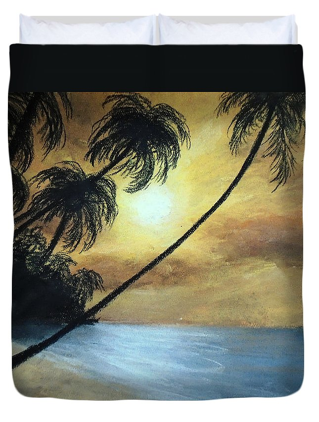 Sunset Painting Duvet Cover featuring the painting Tropical Grip by Jen Shearer