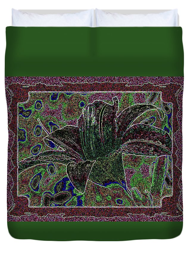Tropical Lily 3 Duvet Cover featuring the digital art Tropical Lily 3 by Will Borden