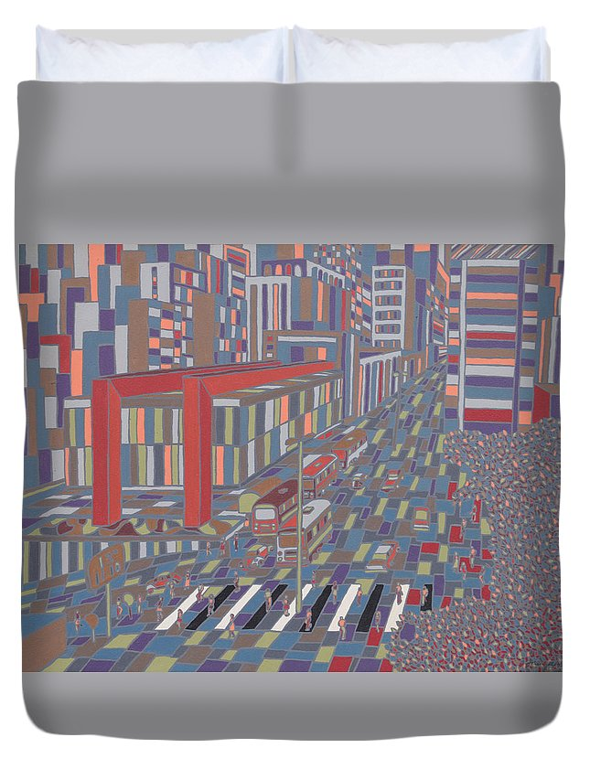 Sao Paulo Duvet Cover featuring the painting Tropical Masp by Muniz Filho