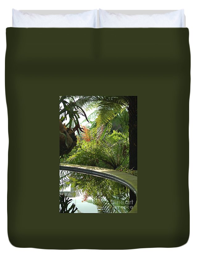 Tropical Plants Duvet Cover featuring the photograph Tropical Mirror by D Nigon