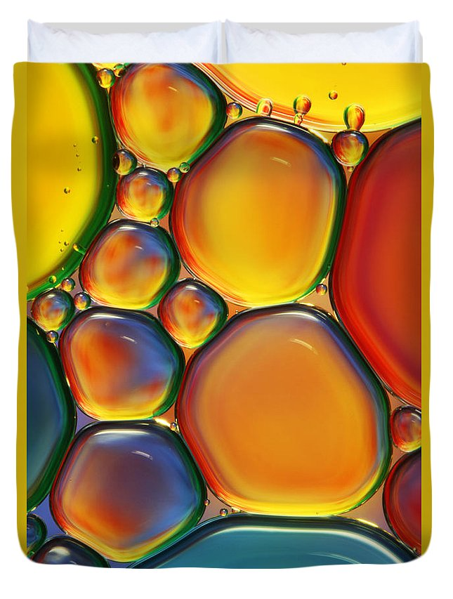 Oil Duvet Cover featuring the photograph Tropical Oil and Water II by Sharon Johnstone