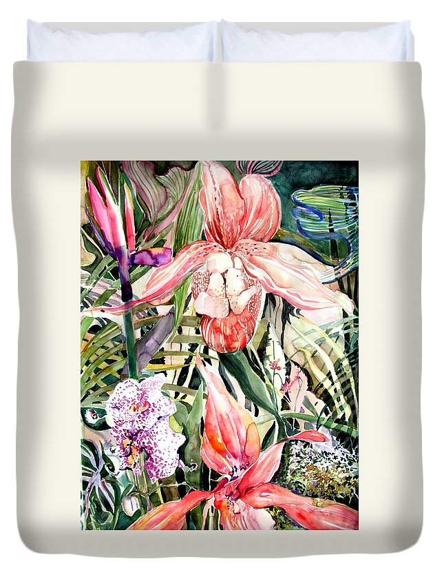 Watercolor Duvet Cover featuring the painting Tropical Orchids by Mindy Newman