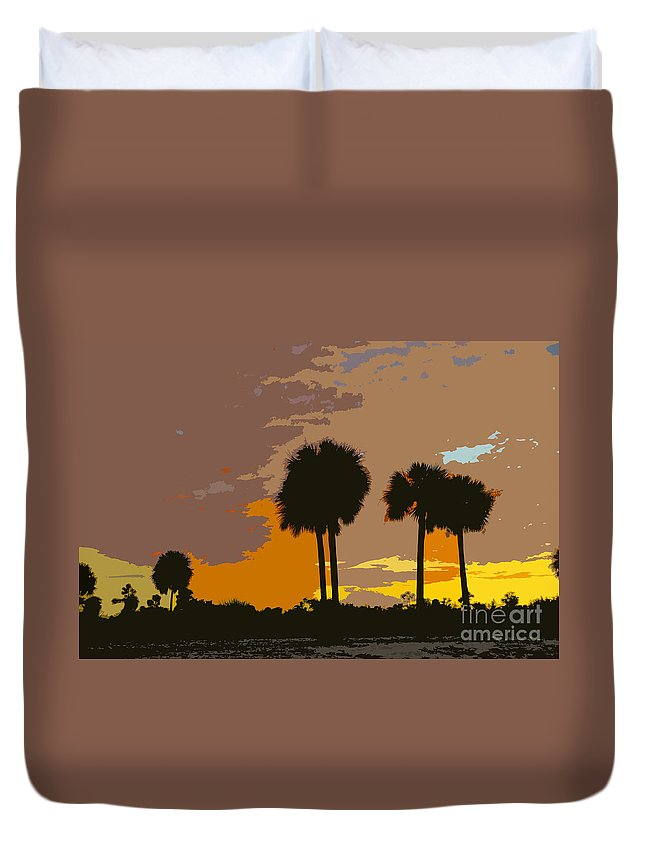 Tropical Duvet Cover featuring the painting Tropical Palms Work Number Three by David Lee Thompson