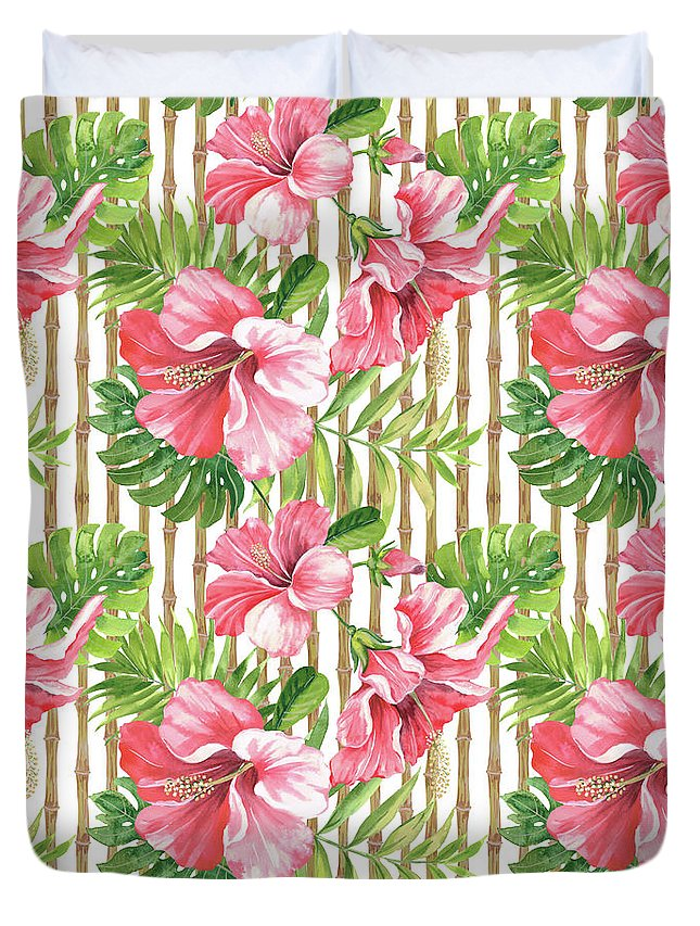 Hibiscus Duvet Cover featuring the painting Tropical Paradise-jp3964 by Jean Plout