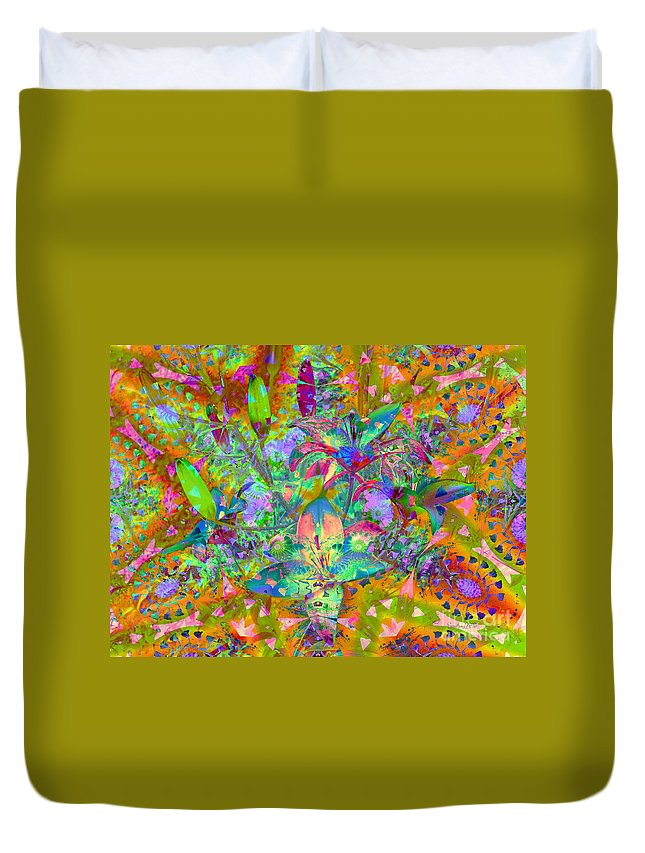 Abstract Duvet Cover featuring the digital art Tropical Paradise by Robert Orinski