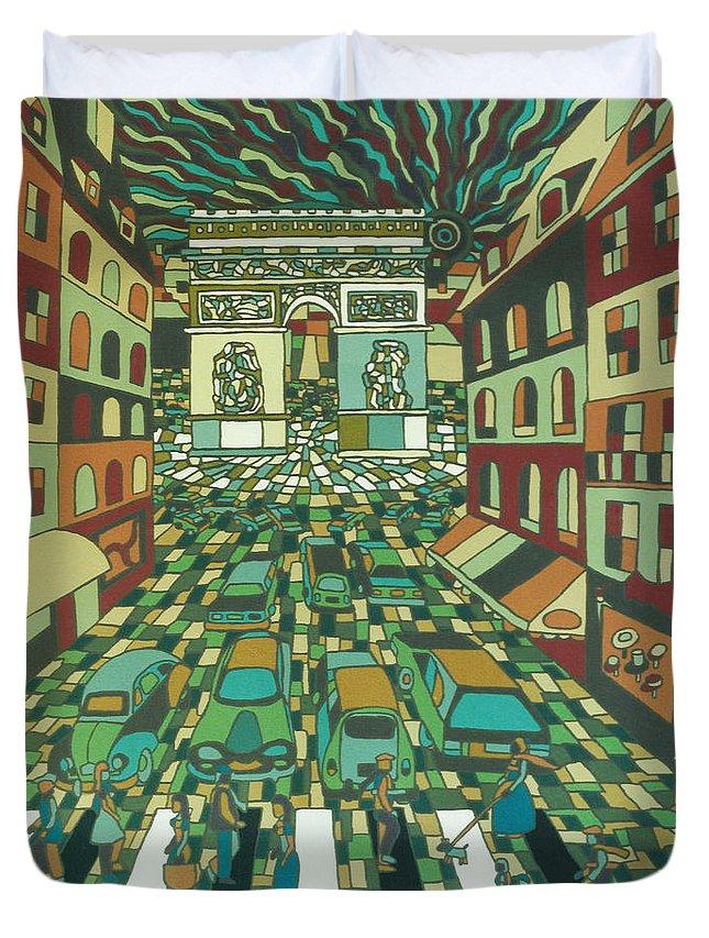 Paris Duvet Cover featuring the painting Tropical Paris by Muniz Filho