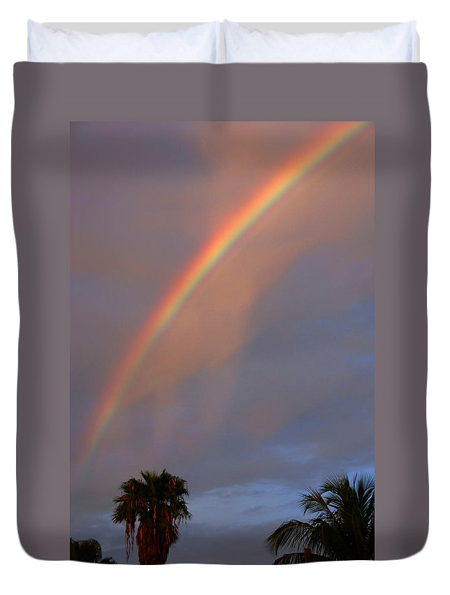 Photography Duvet Cover featuring the photograph Tropical Rainbow by Susanne Van Hulst