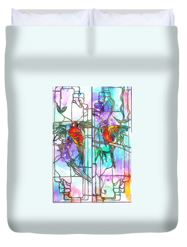 Tropical Duvet Cover featuring the painting Tropical Reflections by Barbara Colangelo