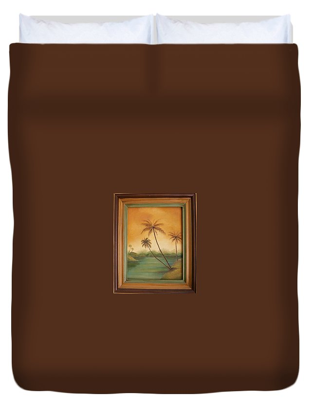 Landscape Duvet Cover featuring the painting Tropical River by Bonnie Murphy