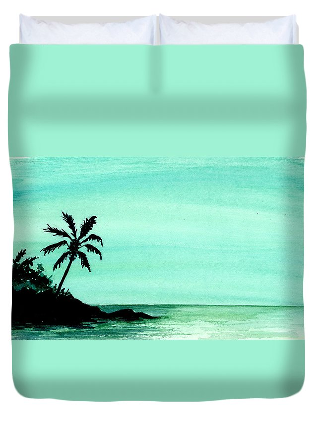 Tropical Duvet Cover featuring the painting Tropical Shore by Michael Vigliotti