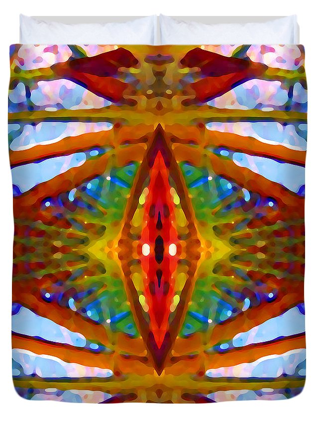Abstract Duvet Cover featuring the painting Tropical Stained Glass by Amy Vangsgard