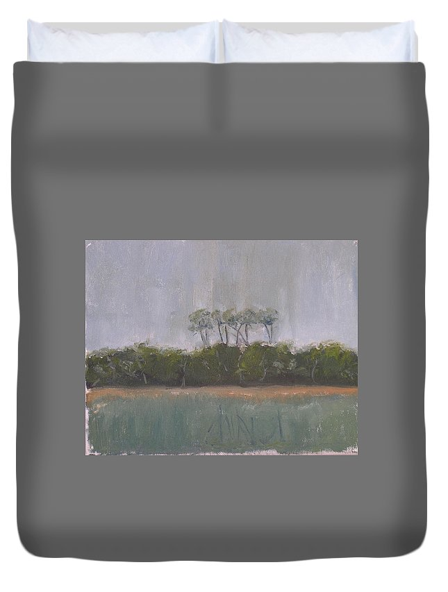 Landscape Beach Coast Tree Water Duvet Cover featuring the painting Tropical Storm by Patricia Caldwell