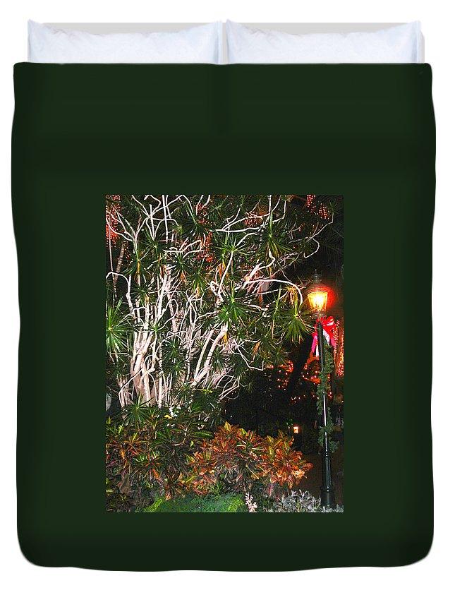 Tropical Duvet Cover featuring the photograph Tropical Streetlight by Anne Cameron Cutri