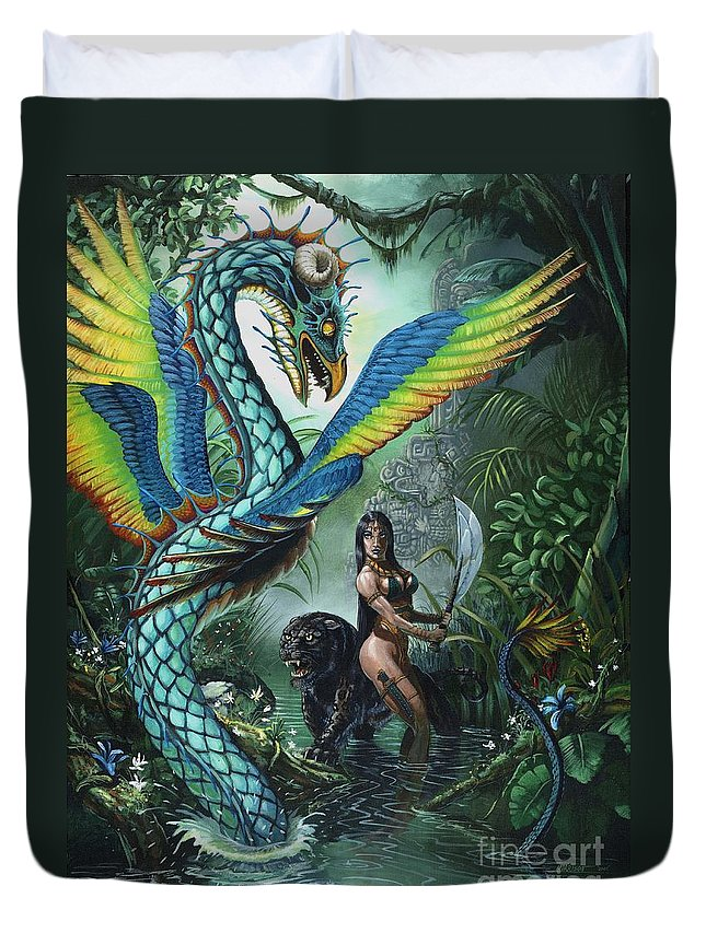 Dragon Duvet Cover featuring the painting Tropical Temptress by Stanley Morrison