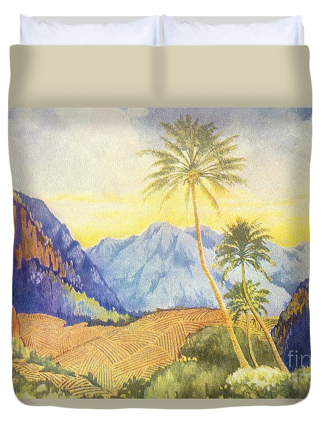 1922 Duvet Cover featuring the painting Tropical Vintage Hawaii by Hawaiian Legacy Archive - Printscapes