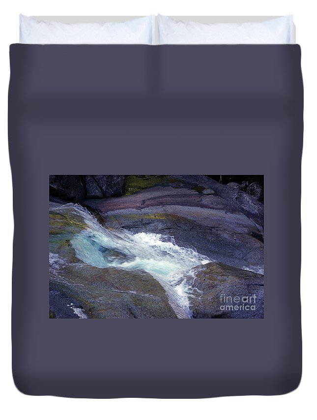 Flowing Duvet Cover featuring the photograph Tropical Water Bird Josephine Falls by Kerryn Madsen- Pietsch