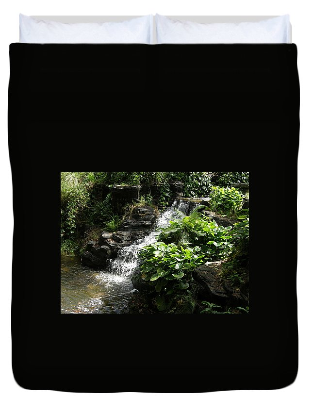 Waterfall Duvet Cover featuring the photograph Tropical Waterfall by Alice Markham