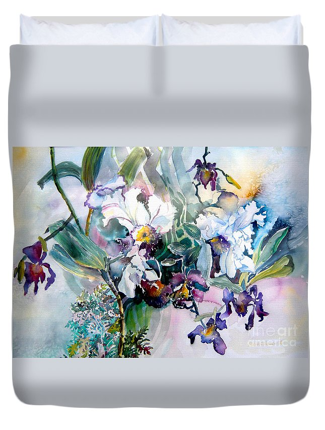 Orchids Duvet Cover featuring the painting Tropical White Orchids by Mindy Newman