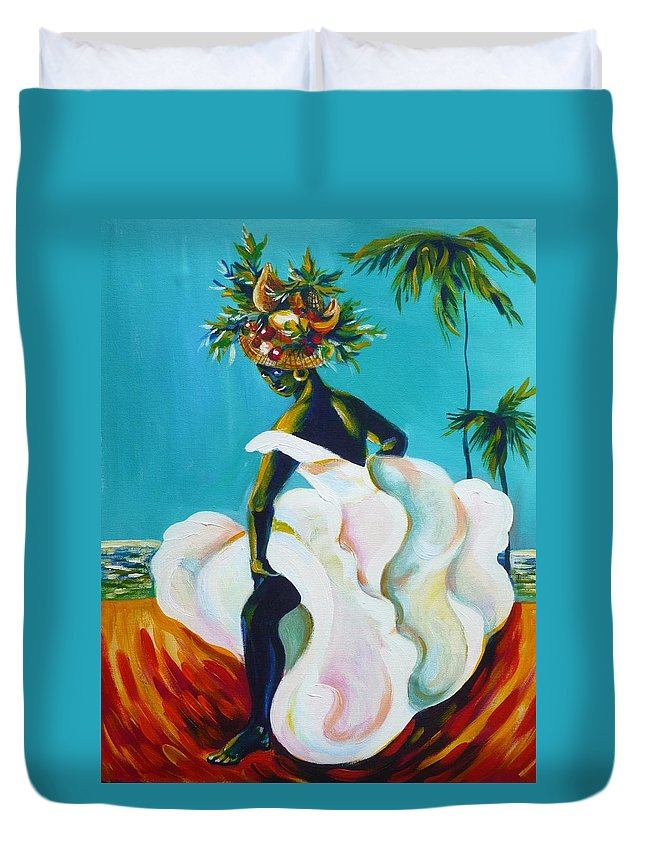 Travel Duvet Cover featuring the painting Tropicana by Anna Duyunova