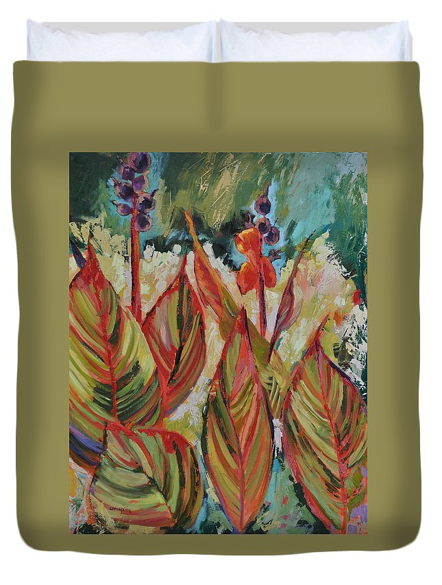 Tropicana Duvet Cover featuring the painting Tropicana by Ginger Concepcion