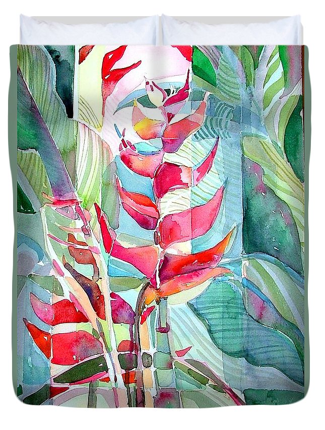 Landscape Duvet Cover featuring the painting Tropicana Red by Mindy Newman