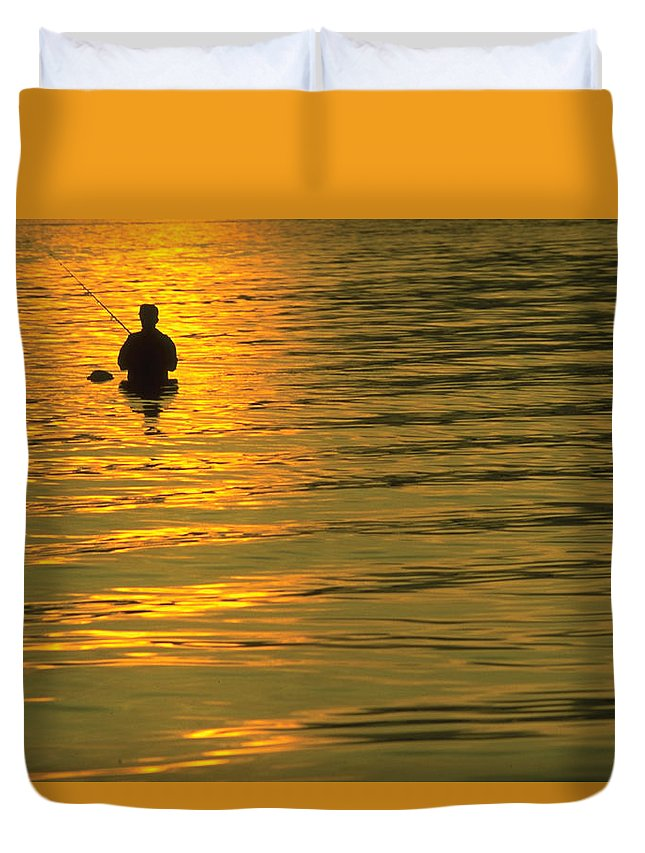 Trout Duvet Cover featuring the photograph Trout Fishing At Sunset by Jim Clark
