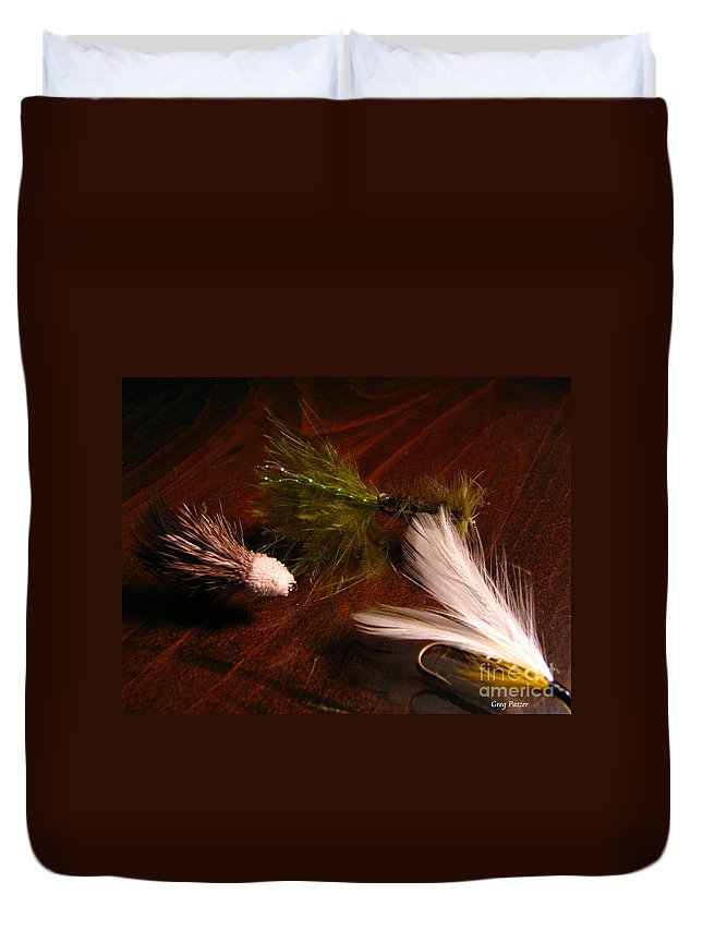 Patzer Duvet Cover featuring the photograph Trout Flys by Greg Patzer