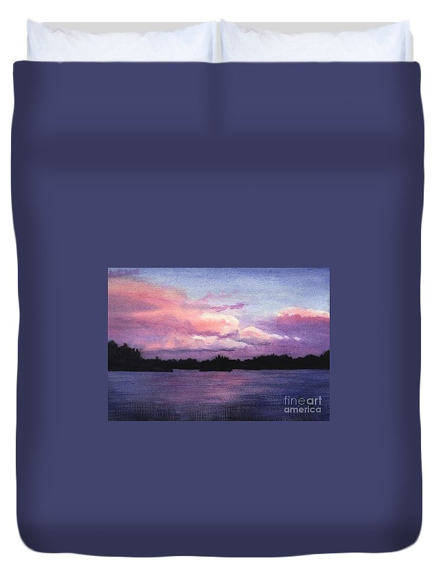 Landscape Duvet Cover featuring the painting Trout Lake Sunset I by Lynn Quinn