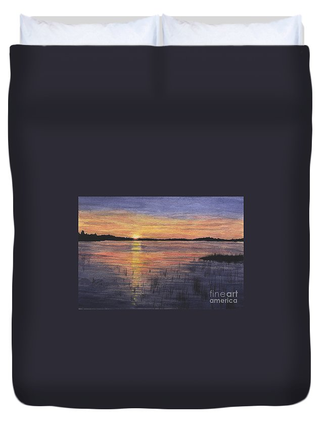 Landscape Duvet Cover featuring the painting Trout Lake Sunset II by Lynn Quinn