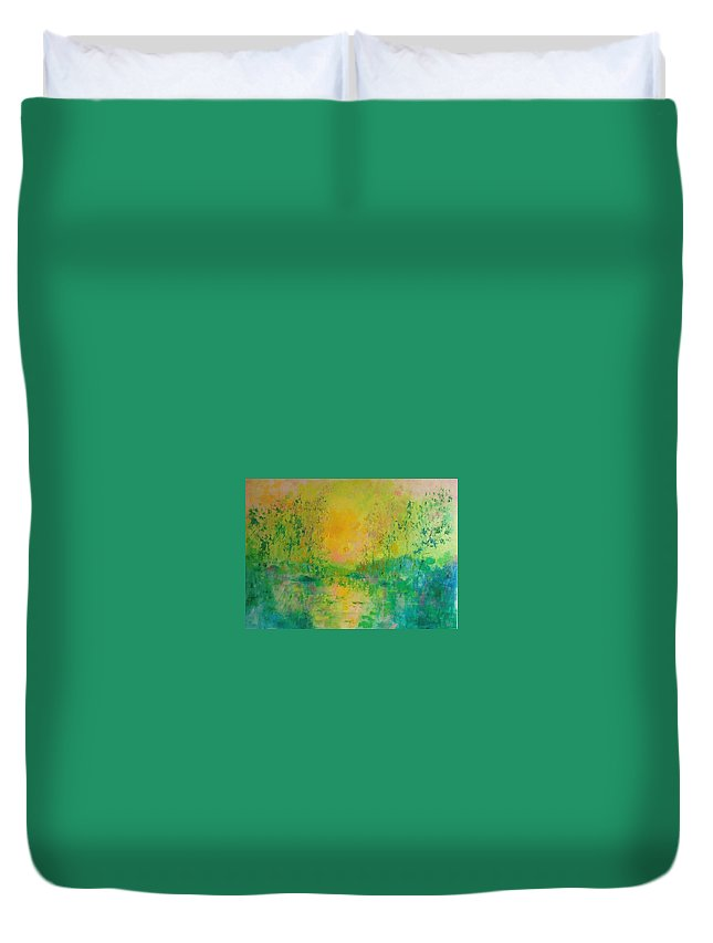 Sunset Duvet Cover featuring the painting Trees In Sunset by Demeter Gui