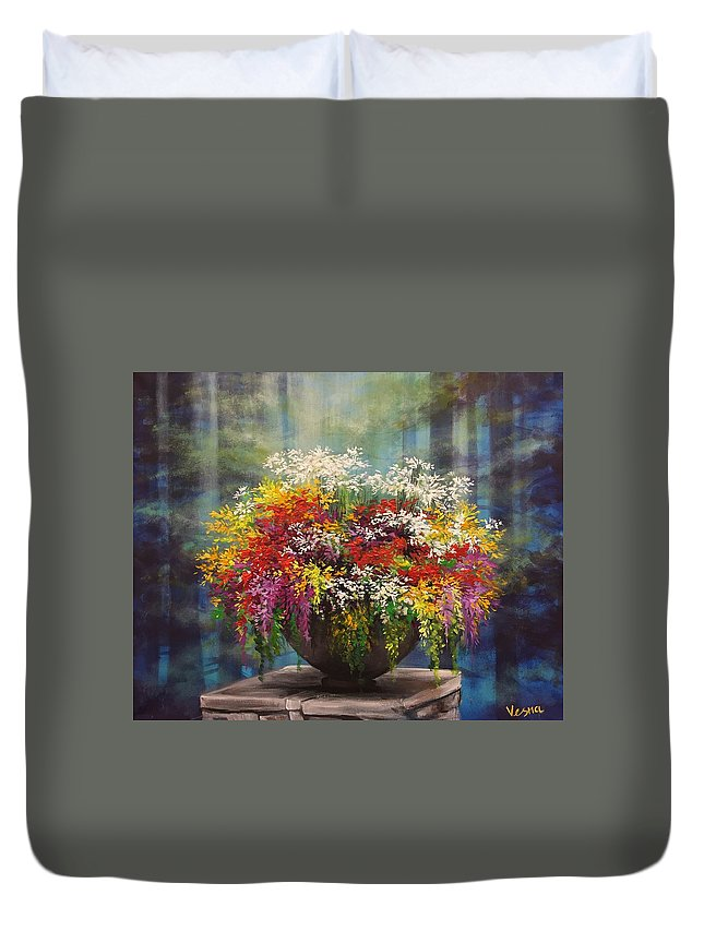 Flowers Duvet Cover featuring the painting True Self by Vesna Delevska