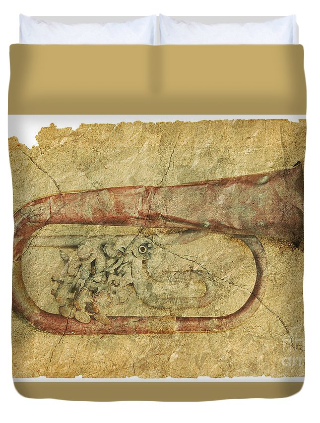 Grunge Duvet Cover featuring the photograph Trumpet In Grunge Style by Michal Boubin