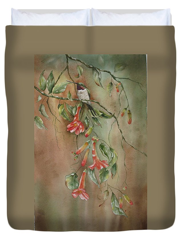 Hummingbird Duvet Cover featuring the painting Trumpet Nectar by Mary McCullah