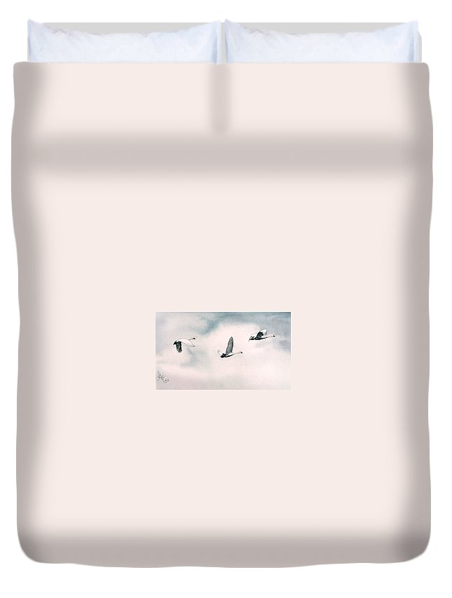 Swans Duvet Cover featuring the painting Trumpeters by Gale Cochran-Smith