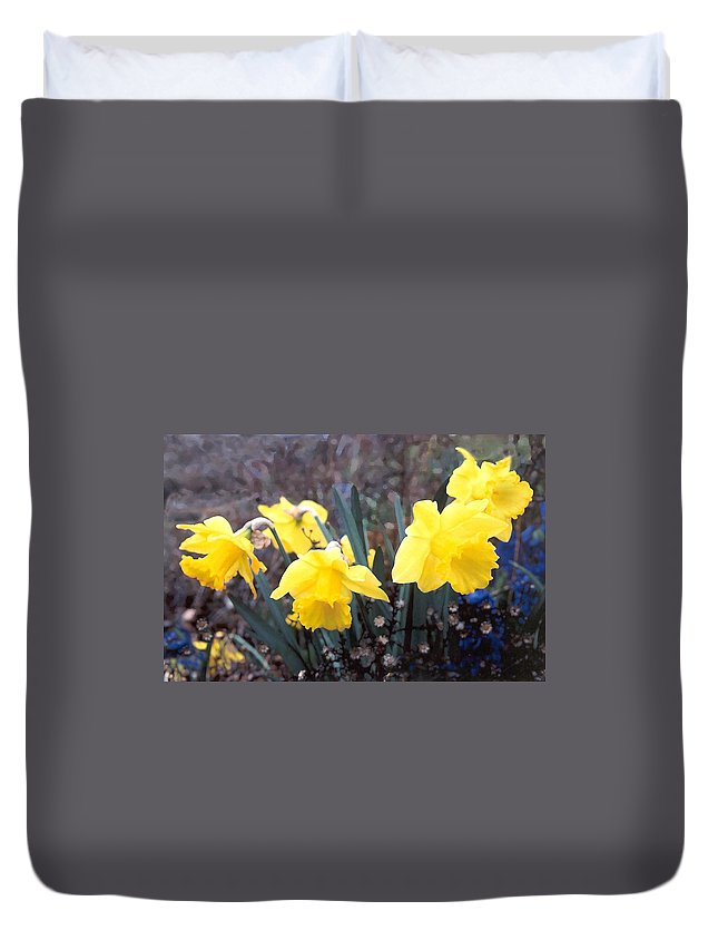 Flowes Duvet Cover featuring the photograph Trumpets Of Spring by Steve Karol