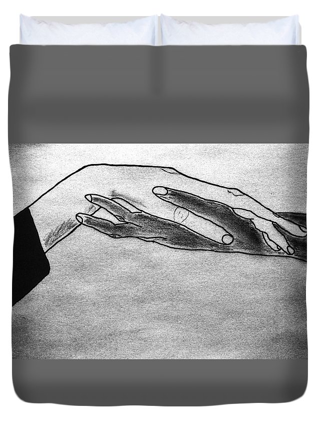 Hands Duvet Cover featuring the drawing Try A Little Tenderness by Tom Zukauskas