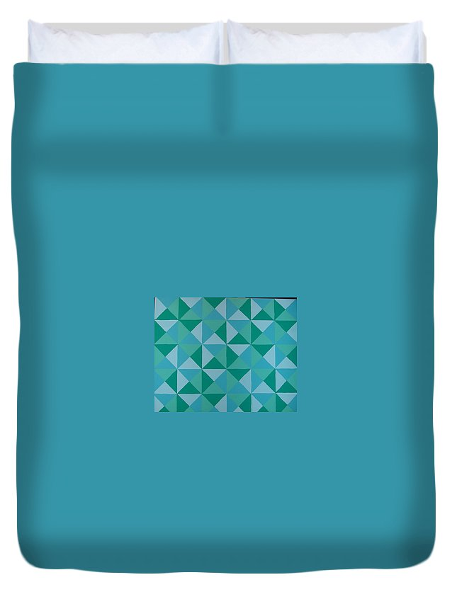 Triangles Duvet Cover featuring the painting Trying Any Angle by Gay Dallek