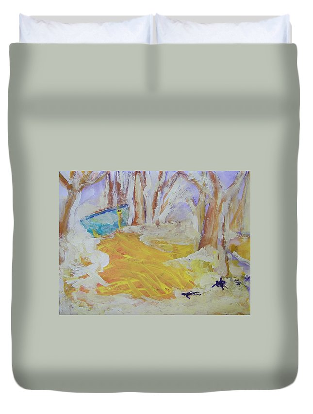 Humanity Duvet Cover featuring the painting Trying To Save The Community Soup Bowl From Leaking by Judith Redman