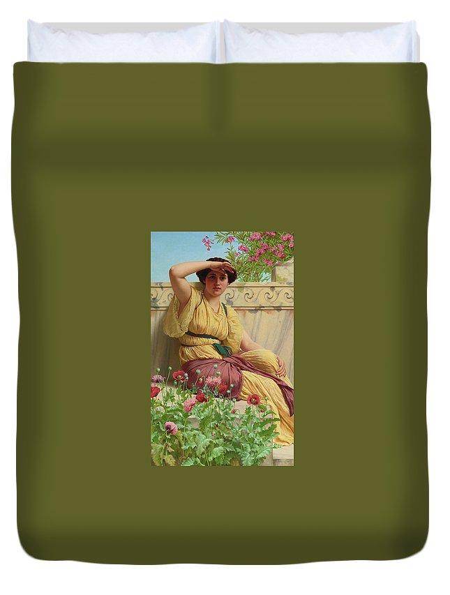 John William Godward 1861 - 1922  A Tryst Duvet Cover featuring the painting Tryst by John William Godward